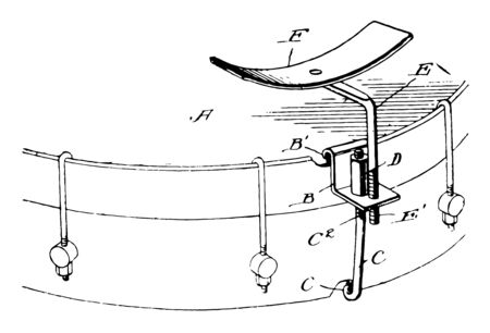 Arm Rest for Musical Instruments used to facilitate the musician when playing music, vintage line drawing or engraving illustration.