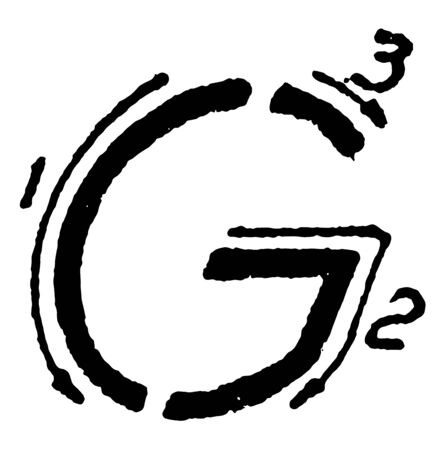 Inclined Capital Letter G where the stroke directions in writing letter G using Inclined Capital, vintage line drawing or engraving illustration.