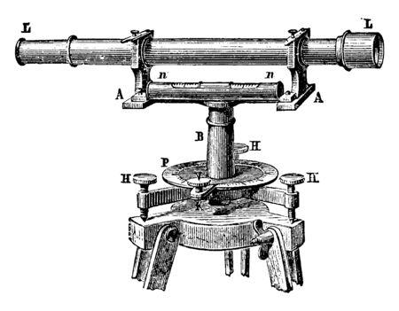 Diese Abbildung stellt eine Wasserwaage mit Teleskop dar, die verwendet wird, um die Wasserwaage auf Landvermessung, Vintage-Linienzeichnung oder Gravierillustration anzuwenden