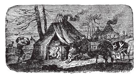 Vogul Encampment is an endangered indigenous people living in Khanty Mansi autonomous district, vintage line drawing or engraving illustration. Ilustração