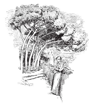 A woman leaning on wall, trees in background, vintage line drawing or engraving illustration