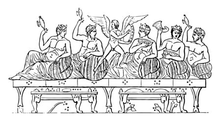 Greeks on a drinking party with a winged man in the middle, vintage line drawing or engraving illustration.