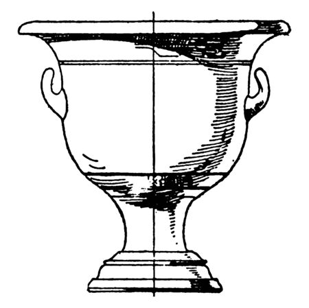 Greek Krater is a type of antique vase, that was typically used for mixing water and wine, vintage line drawing or engraving illustration.