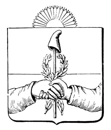 The Great Seal of the Argentine Republic is Coat of Arms, vintage line drawing or engraving illustration. Ilustracja
