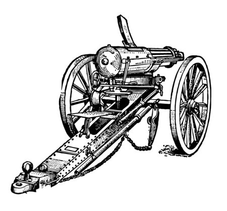 Gatling Gun consists of a series of barrels in combination with a grooved carrier and lock cylinder, vintage line drawing or engraving illustration.
