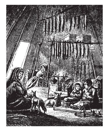 Ostiak Family are a tribe who inhabit the basin of the Ob in western Siberia belonging to the Finno Ugric group, vintage line drawing or engraving illustration.