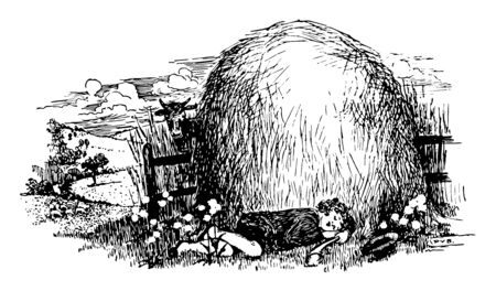 Little Boy Blue, this scene shows a boy is sleeping under the haystack, hat on ground, vintage line drawing or engraving illustration