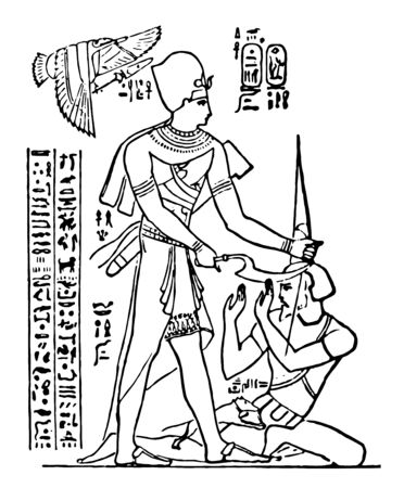 Rameses II Standing Figure is an ancient statue of Rameses II, vintage line drawing or engraving illustration.