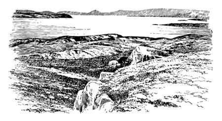 A view of The Bay of Salamis, vintage line drawing or engraving illustration. Çizim