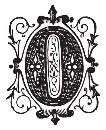 An ornamental letter O, vintage line drawing or engraving illustration Ilustracja