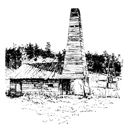 Drake Well is oil well in Cherrytree Township, Venango County  vintage line drawing.