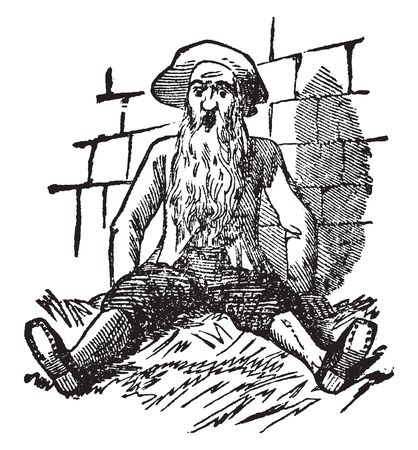 An old man with long beard sitting on ground, vintage line drawing or engraving illustration