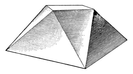 A diagram of an irregular solid shape formed by triangular surfaces deployed on a flat surface, vintage line drawing or engraving illustration. 向量圖像