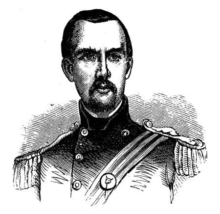 Michael Corcoran, 1827-1863, he was an American general in the union army during the American civil war, vintage line drawing or engraving illustration