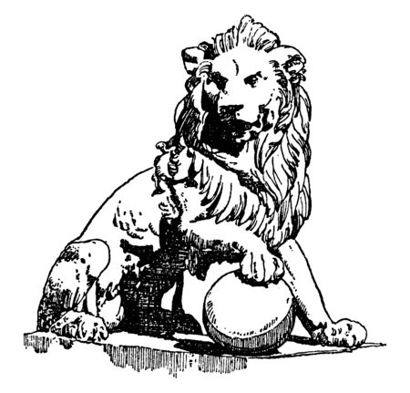 Lion Statue is found in front of the palace of Cortes in Madrid, vintage line drawing or engraving illustration.