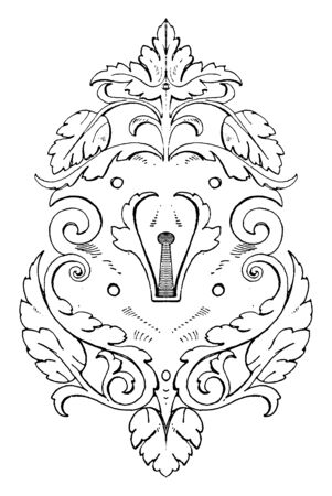 Wrought-Iron Escutcheon Strap-Work Tablet was of German origin of the 16th century, vintage line drawing or engraving illustration.