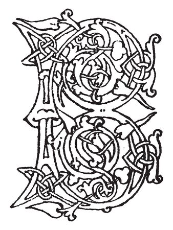 A capital letter B in Romanesque architecture, vintage line drawing or engraving illustration Çizim