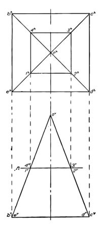 This image shows the intersection of a square pyramid and a plane, vintage line drawing or engraving illustration.