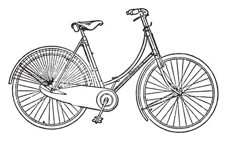 Womans Bike in which the front fork and steering post are subject to bending moment due to the reaction from the ground, vintage line drawing or engraving illustration. 일러스트