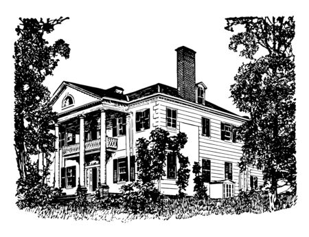 Jumel Mansion also known as Roger and Mary Philipse Morris house,New york,Headquarters for both sides the American revolutions vintage line drawing.