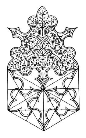 The image shows a beautiful tiling design together with the wall shoring and is formed by Assisi and has a basic structure of a small tree, vintage line drawing or engraving illustration.
