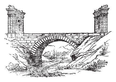 St Chamas Bridge is a commune in the department of Bouches du Rhne in the Provence Alpes Cte Azur region in southern France, vintage line drawing or engraving illustration.
