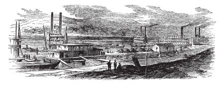 Wharf Boat is a boat moored and used for a wharf at a bank of a river or in a like situation, vintage line drawing or engraving illustration.