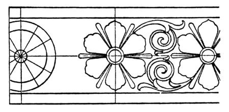 Antique Rosette Band is a heavy design, its pattern of long flowers, vintage line drawing or engraving.