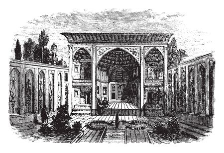 Persian Palace which bright dining room and takeaway with tiled floors and rollback chairs, vintage line drawing or engraving illustration.