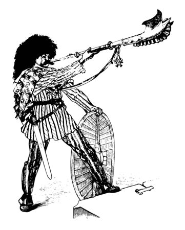 This is the image of the Gallic soldier who blows a long trumpet known as carnyx. Soldier who has the longest hair, vintage line drawing or engraving illustration.