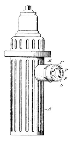 A fire hydrant is a fitting of steel with a nozzle to provide water in public places. Firefighters can tap into that water to extinguish fire, vintage line drawing or engraving illustration.