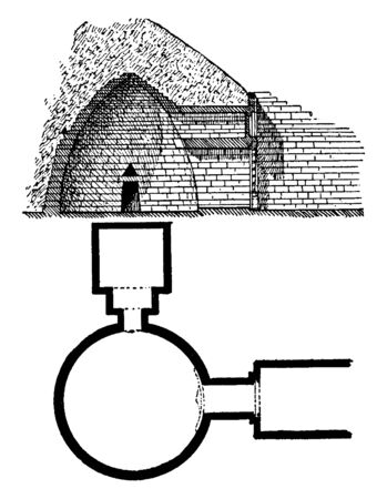 Treasury of Atreus, Tomb of Agamemnon, an impressive, The lintel stone,  unknown period of time, vintage line drawing or engraving illustration.