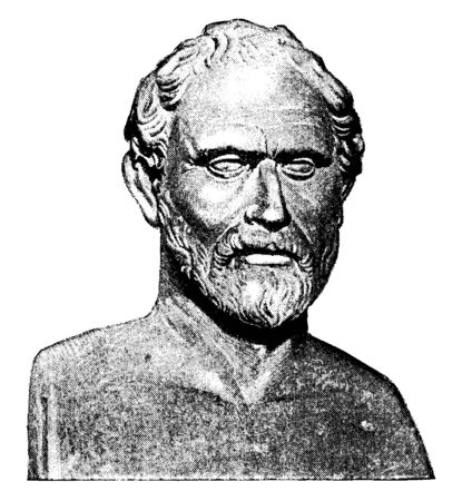 Demosthenes, 384-322 BC, he was a Greek statesman and orator of ancient Athens, vintage line drawing or engraving illustration Archivio Fotografico - 133362562