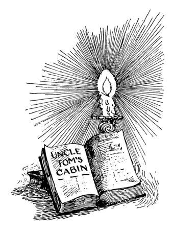 Uncle Tom's Cabin, America, anti-slavery, Harriet Beecher Stowe, Novel, slavery, vintage line drawing or engraving illustration.