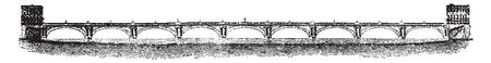 Waterloo Bridge is a road and foot traffic bridge crossing the River Thames in London between Blackfriars Bridge and Hungerford Bridge, vintage line drawing or engraving illustration. Illusztráció
