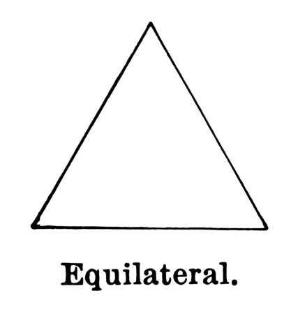 The image of the equilateral triangle. The three sides of this triangle are the same, vintage line drawing or engraving illustration. 矢量图像