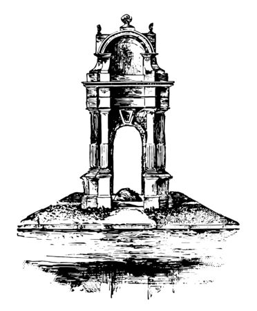 Plymouth rock was made by Elder Thomas Faunce in 1741 when the pilgrims arrived in Plymouth vintage line drawing.