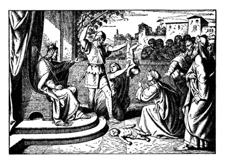 An image of Solomon sitting in judgment. He wears a crown and holds a scepter. A soldier holds a baby by the foot and raises his sword to attack. Several people look at the scene from behind a low wall, vintage line drawing or engraving illustration. Illusztráció