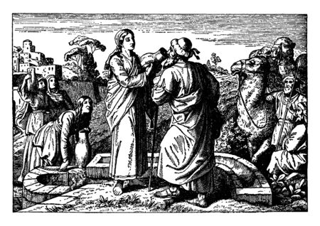 There is a well in this frame. And many wives came near to the well, and there were camels too. And there an adult man is asking for water for a woman to drink, vintage line drawing or engraving illustration.