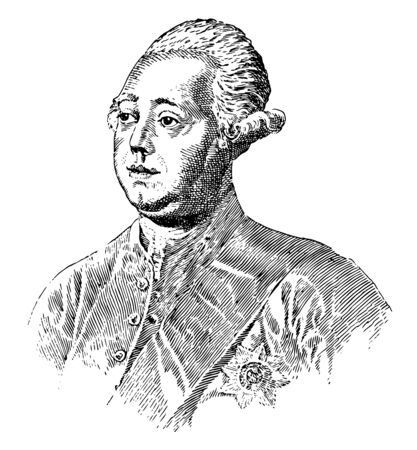 Lord North, 1732-1792, he was prime minister of Great Britain from 1770 to 1782, vintage line drawing or engraving illustration