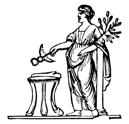 This is the picture of Roman goddess of concord. She has hold something in her hand & also she wearing a long historical gown, vintage line drawing or engraving illustration.