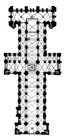 Plan of Durham Cathedral, commonly referred to as Durham Cathedral, Norman cathedral, vintage line drawing or engraving illustration.