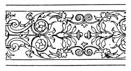 Border Undulate Band is a design found on half- columns in St. Trinita, It is a floral wavelike design, vintage line drawing or engraving. Stock Illustratie