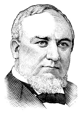 George Q. Cannon, 1827-1901, he was member of the quorum of the twelve apostles of the LDS church and a president of the Mormon church, vintage line drawing or engraving illustration Reklamní fotografie - 133362598