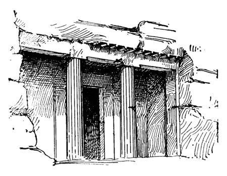 Tomb at Beni-Hassan or bani beni hasan, burial chambers, catacombs, egyptian architecture tombs, middle kingdom, vintage line drawing or engraving illustration.
