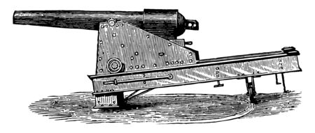 Parrot Gun was a type of muzzle loading rifled artillery weapon used extensively in the American Civil War, vintage line drawing or engraving illustration.