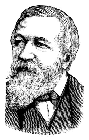 Robert Browning, 1812-1889, he was an English poet and playwright whose mastery of the dramatic monologue made him one of the foremost Victorian poets, vintage line drawing or engraving illustration Çizim