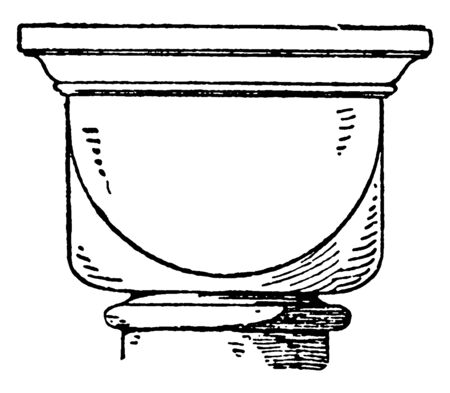 Romanesque Cushion Capital, architectural, style, medieval, Europe, vintage line drawing or engraving illustration.