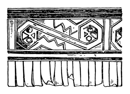 A tomb of Inca Empire pre-Columbian America, vintage line drawing or engraving illustration.