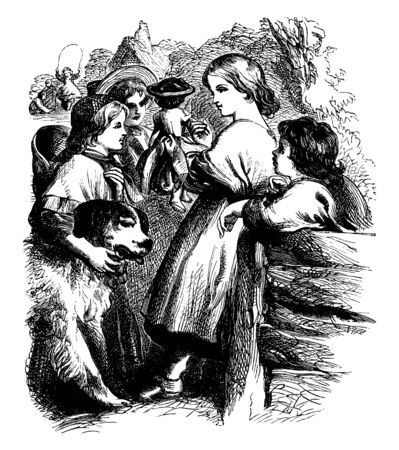 A social gathering in which some children are engaged in conversation out of which one has his arm around the neck of a dog and a girl is jumping rope in the background, vintage line drawing or engraving illustration.